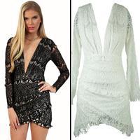 4333 new long deep V halter dress high-grade bud ribbon lining mini bodycon dress frozen dress