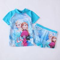 Free shipping Frozen girls SUV sun protection anti-uv swimwear bather t shirt short 2pcs sets 6 sets/lot FGS02