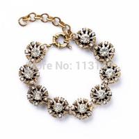Free Shipping Women's Retro Fashion JC Hot Design Rhinestone Crystal Pave Flower Metal Link Chain Charm Bracelet PSB-S029