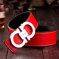 Cheap Brand Ladies Belts Fashion 8 Shape Buckle Leather Women Belts Faux Leather Classic Stripes