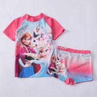Free shipping Frozen girls SUV sun protection anti-uv swimwear bather t shirt short 2pcs sets 6 sets/lot FGS05