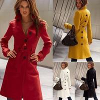 2014 Fashion Autumn Winter Elegant Waist Wrap Women Blends Plus Size Europea Wool Winter Women Coat