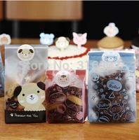 E2 Wholesale animal cat dog teddy bear design zakka HAND MADE sealing sticker baking package cake box decoration