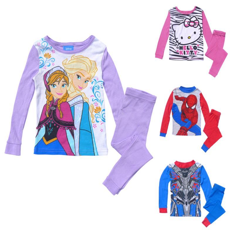 Children Pajamas Set Cute Cartoon Frozen Kitty Transformers Spiderman Kids Girl Boy Cotton Sleepwear Baby Pijamas Homem Aranha(China (Mainland))