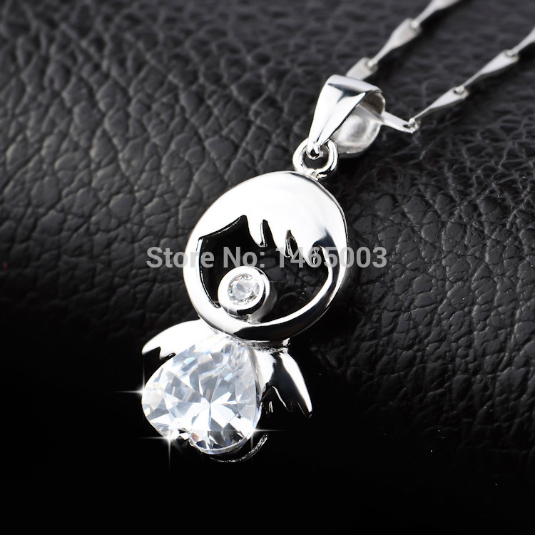 Free shipping Wholesale silver jewelry 925 sterling silver necklace Cupid Love Doll pendant gift box package