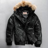Avirex down bomber jacket fashion men's sheepskin100% genuine leather jacket hooded short down coat outerwear in winter