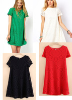 2014 new Hot women floral Short Sleeve Lace Dress lady Casual Loose O-neck Vintage embroidery hollow out dress