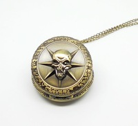 Men quartz pocket watch bronze vintage big skull crossfire fashion analog alloy with long chain best gift free shipping