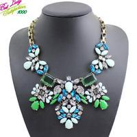 2014 New Arrival Fashion Statement Crystal Gem Collar Wholesale Hotsale Flower Vintage Brand Luxury Necklace 9649