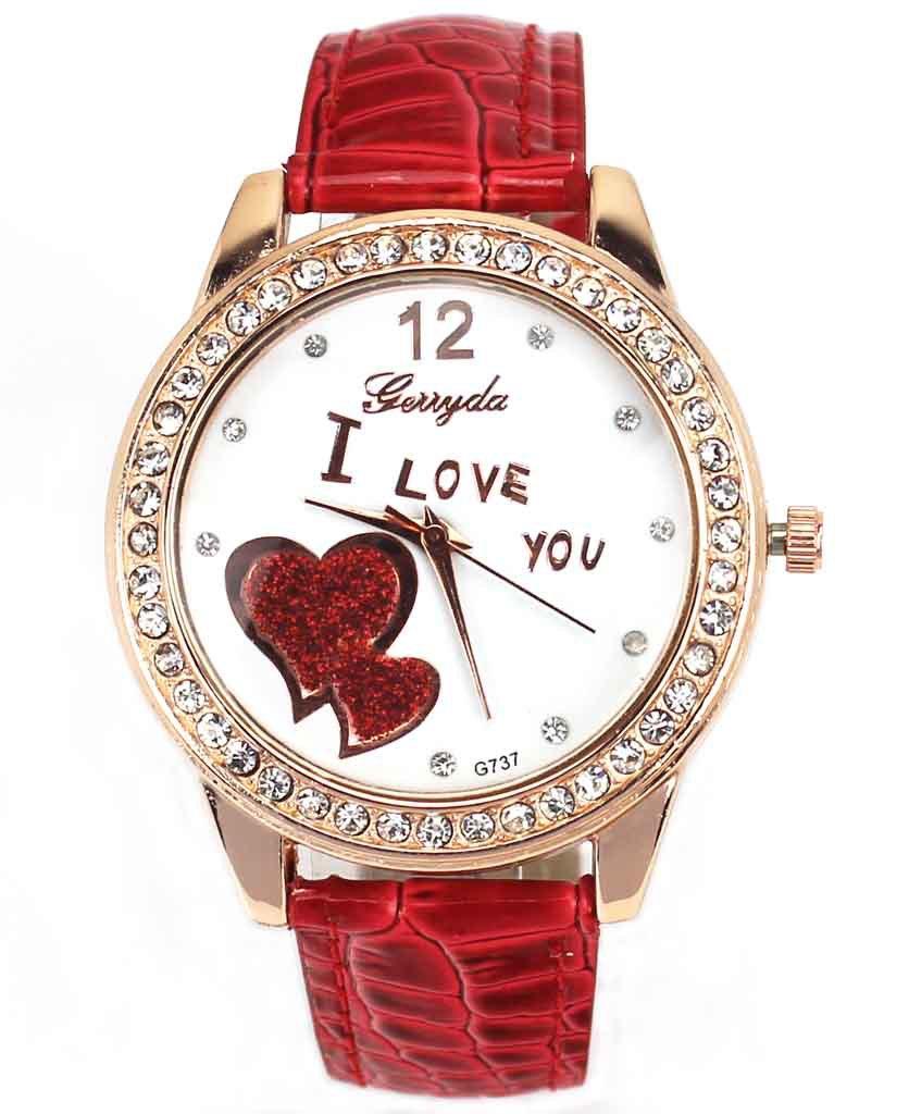 """ I Love You "" Heart Dial Men Women Red Color Crystal Quartz Clock Wrist Watch(China (Mainland))"