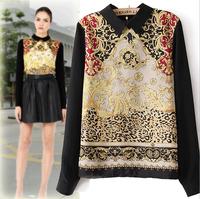 NEW 2014 summer Women Long Sleeve Floral Print Chiffon blouse tops Casual shirt Top free shipping