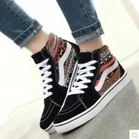 Hight cut canvas shoes autumn Korean tide leopard students shoes women casual shoes size 35-39 s1016