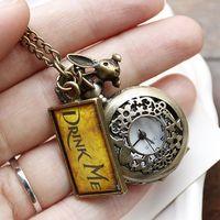 2014 Wholesale wedding gift hot sale drink me for ladies necklace ladies bronze clock pendant