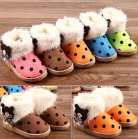 Lovely new children shoes warm black dots plus plush bear bow autumn winter short boots for babies shipping