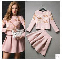 free shipping 2014 winter fall woman dress suits set for office and career size S M L XL color pink and green