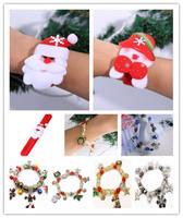 Santa Clause Wrist Band 2015 Christmas Bracelets Charming Elastic Beads Bangle With Mini Charms Christmas Gift For Woman Girls
