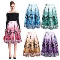 Women Printed Skirt New Fashion 2015 Spring Summer Vintage High Waist Skater Skirt Ball Gown Women Girl Pleated Midi Skirt141026