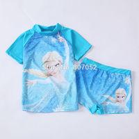 Free shipping Frozen girls SUV sun protection anti-uv swimwear bather t shirt short 2pcs sets 6 sets/lot FGS03