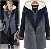 European &  American big yards ladies woolen jacket plus size thick cotton zipper fat model 2piece woolen coat  long sections