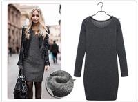 Drop shipping velvet long sleeve winter dress thick warm women casual dress 4 colors M-XXL