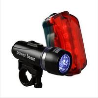Waterproof LED Bike Head Flash Front Light Torch + Night Rear Flashlight Warning Cycling Bicycle 5 LED Lamp Light Sport Lighting