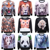 2014 fashion Man/Women's 3D Printed Hoodies Leasure tracksuit Cat/Tiger/Lion/Wolf/Leopard Sweatshirt Tracksuit Tops 11004C.