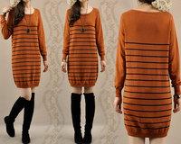 New arrival women autumn long-sleeve basic medium-long stripe sweater dress casual slim knitted one-piece dresses female 1035