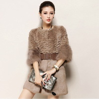 Rex rabbit fur coat  women medium-long 2014 sleeve hem with fox fur outwear