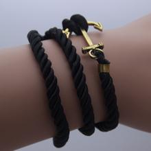 # AB0113   L anchor ancient silver braided leather cord multi infinite love retro fashion  B4