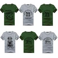 2014New Individuality Men Short Sleeve T-shirt  O-Neck Black Summer Tight Shirt  Cotton Blend Tops Tees Casual Slim Print  M028