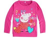 3 colors Peppa pig t shirt 1pcs children baby girls boys t shirt spring autumn long sleeve boys girls t shirt  free shipping