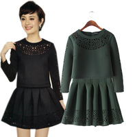 2014 Autumn Cutout Space Cotton Women's Pullover Top and Skirt Set, Casual Sweatshirt and Pleated Bust Skirt Twinset