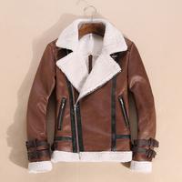 Newest Fashion Warm Winter Genuine Leather Jacket man-made Sheep Skin Lamb Fur Trench Men Coat Zipper Blazer Men Jacket
