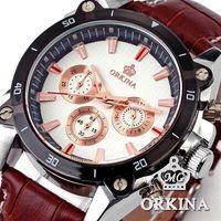 Orkina 6 Hands Golden Dial Stainless Steel Round Case 24 Hours Display Coffee Leather Strap Analog Men Wrist Quartz Watch/ORK079