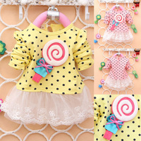 Lollipop Casual Baby Girls Kids Toddlers Lace Bow Princess Dress One-piece Skirt