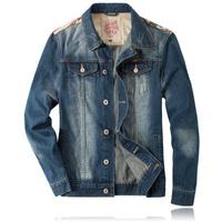 jacket men free shipping 2014 spring autumn fashion denim coat,custom fit plus size casual sports male hooded jackets