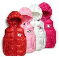 2014High Fashion Children KTCat cotton vest,Baby hooded Hello Kitty waistcoat Girls cartoon Removable cap Sleeveless jacketS-XXL