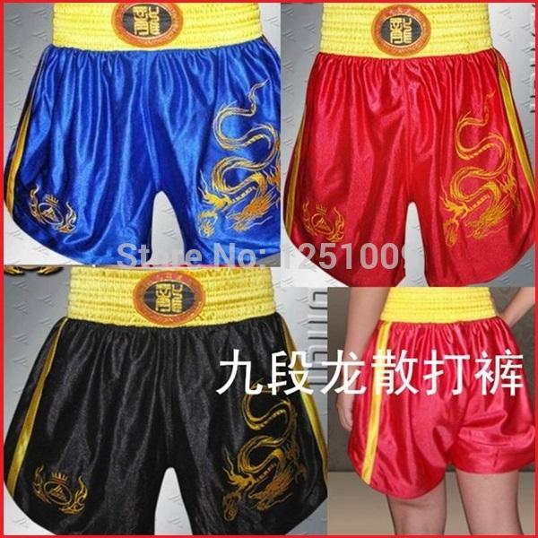 1PCS Dragon Embroidery Martial Art Muay Thai Kick Boxing Shorts MMA Training Pant(China (Mainland))