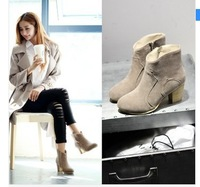 2014 free shipping street scrub boot round toe zipper solid color short martin boots