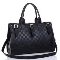 Fashion designer sleeve black plaid bag shouder women pu leather bag tote messenger bags vintage and elegant free shipping