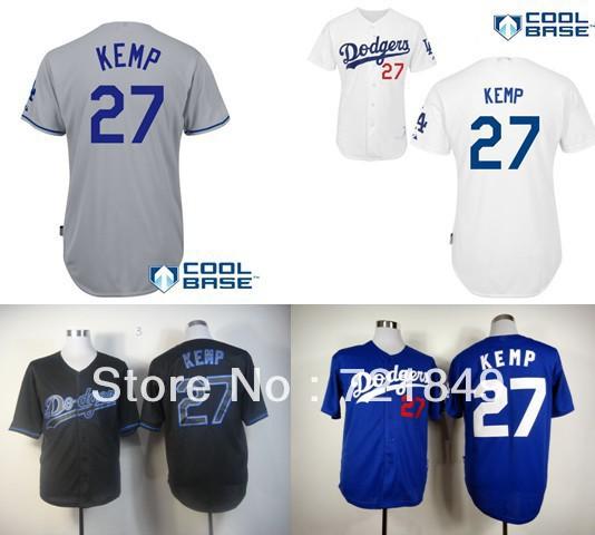 Shop Discount/ Los Angeles Dodgers #27 Matt Kemp baseball jerseys blue,black,white,gray retail &wholesale in china!(China (Mainland))
