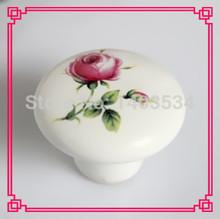 20 pcs romântico subiu de impressão Dia 38 mm Single hole cerâmica knob cozinha móveis knob gabinete knob gaveta puxa(China (Mainland))