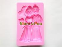 Mom&Pea 0172 Free Shipping Bride&Bridegroom Shaped Silicone Mold Cake Decoration Fondant Cake 3D Mold Food Grade Silicone Mould