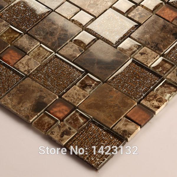 crystal glass tile backsplash kitchen brown glass stone