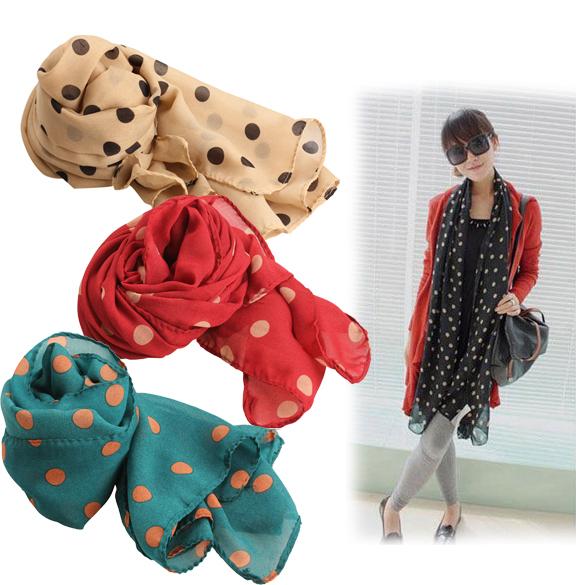 2014 Fall Winter Fashion Women Ladies Polka Dots Spot Chiffon Soft Shawl Scarf Neck Wrap Headscarf 4 Colors PTSP(China (Mainland))