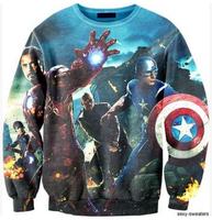 2014 New fashion high quality Women Men The Avengers Print 3D Sweatshirts Hoodies Galaxy sweaters Tops Free shipping