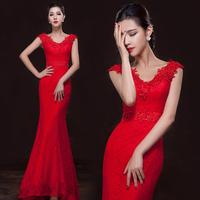 2014 double-shoulder long fish tail design Evening Dresses slim hip bride dress fashion