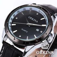 Orkina Elegant Stainless Steel Auto Date Display relogio masculino Black Dial Leather Band Analog Wrist Quartz Men Watch /ORK081
