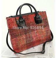 Retro fashion autumn and winter wool plaid stitching Ms. PU shoulder bag across body handbag casual messenger bag red & blue