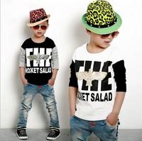 Retail 1 Piece New 2014 Kids Tops Children Boys Long Sleeve Patchwork T Shirt Spring Autumn Cotton Baby Boy's Basic Shirt CC1716